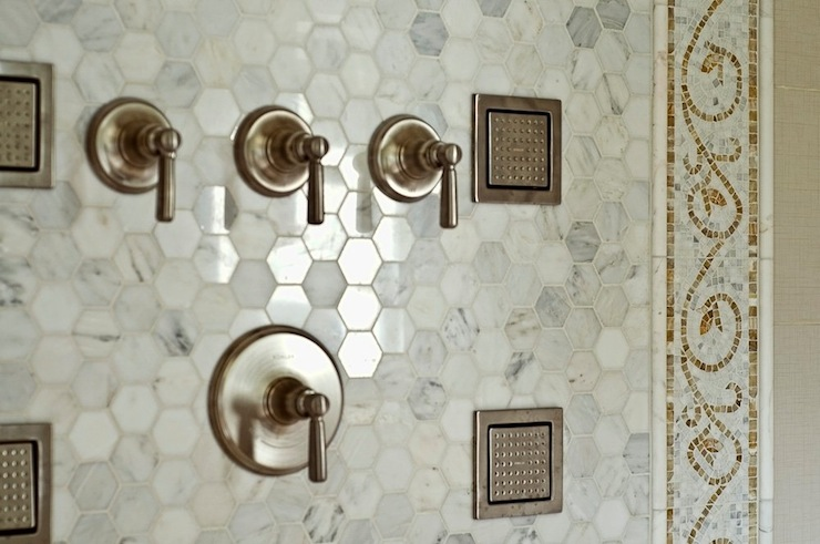 Carrara marble hexagon tile transitional bathroom farinelli construction Marble hex tile bathroom floor