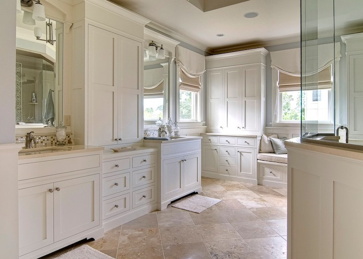Travertine Floor Transitional Bathroom At Home In