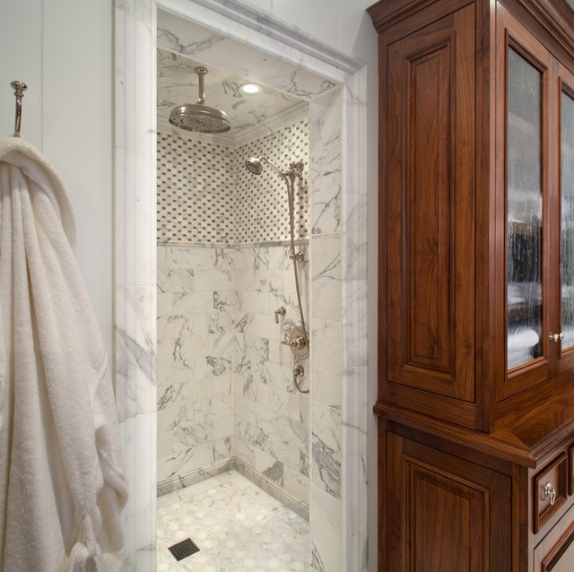 Calcutta marble transitional bathroom anne sneed for Bathroom tile designs 2012