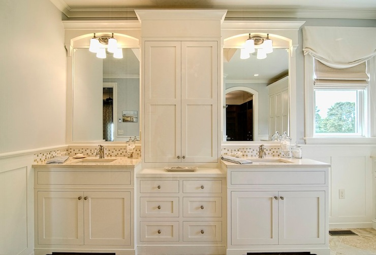 His And Her Bathroom Cabinets Transitional Bathroom Farinelli Construction