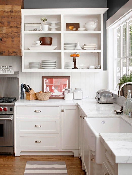Tips For Open Shelving In The Kitchen: Reclaimed Wood Kitchen Hood