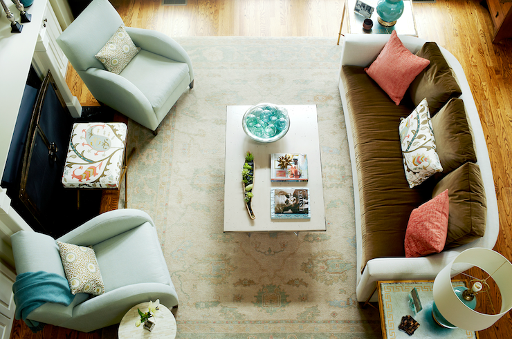 Turquoise and brown living room transitional living room kara cox interiors for Coral teal and brown living room
