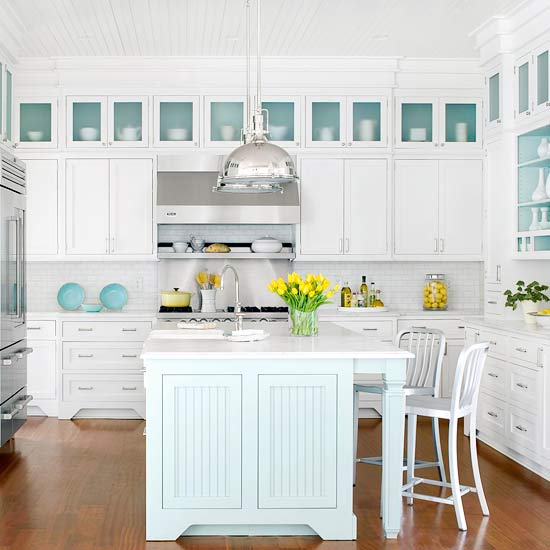 Eclectic White Kitchen: Turquoise And Gray Kitchen