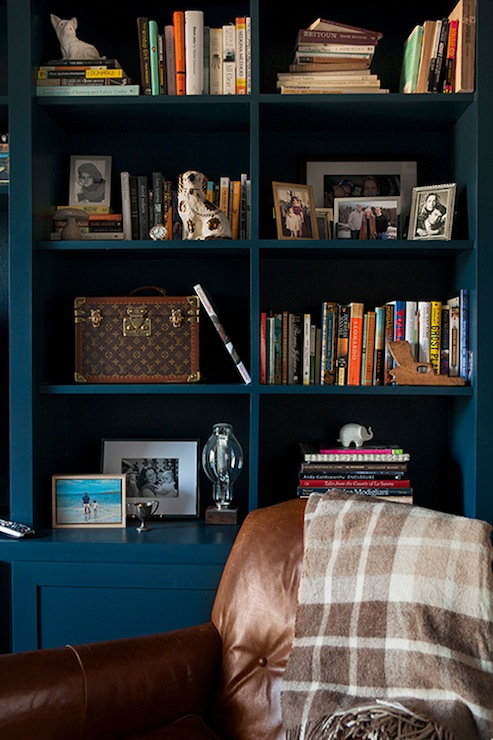 Peacock Blue Living Room: Peacock Blue Built-In Cabinets, Eclectic, Living Room