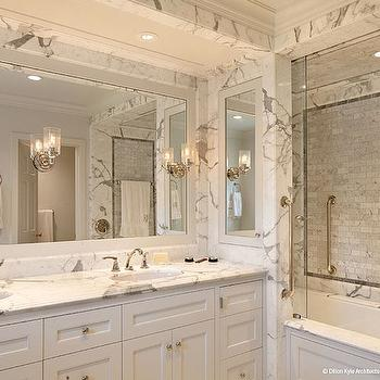 Carrara Marble Shower, Transitional, bathroom, Dillon Kyle Architecture