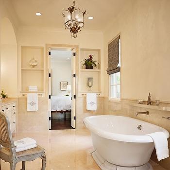 Crema Marfil Marble, Mediterranean, bathroom, Dillon Kyle Architecture