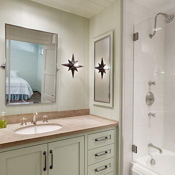 Light Green Bathroom Cabinets, Cottage, bathroom, Dillon Kyle Architecture