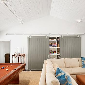 Gray Barn Doors, Transitional, media room, Dillon Kyle Architecture