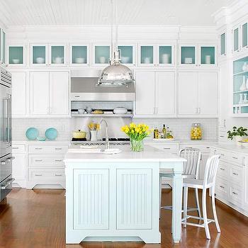 White and Turquoise Blue Kitchen, Cottage, kitchen, BHG