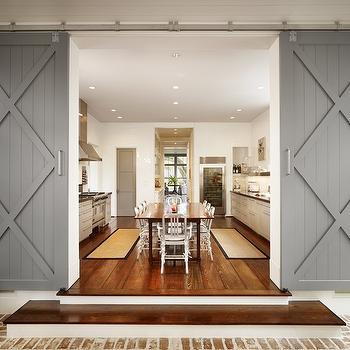 Gray Sliding Barn Doors, Contemporary, kitchen, Dillon Kyle Architecture