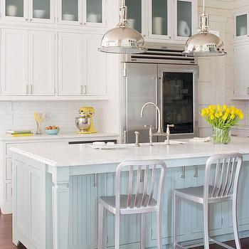 Blue Kitchen Island, Cottage, kitchen, BHG