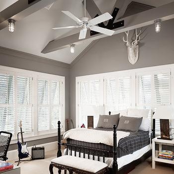 Grey Walls, Country, boy's room, Benjamin Moore Storm, Dillon Kyle Architecture