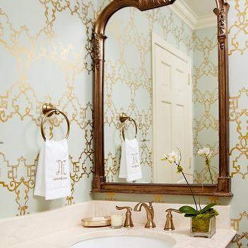 Blue And Gold Powder Room