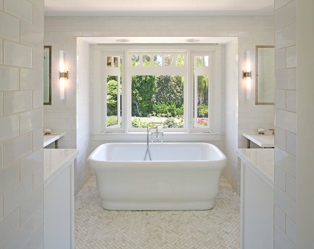 Marble Herringbone Floor Contemporary Bathroom