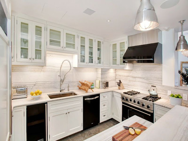 kitchen designs with black appliances. White kitchen with sleek black appliances  Black Appliances Design Ideas