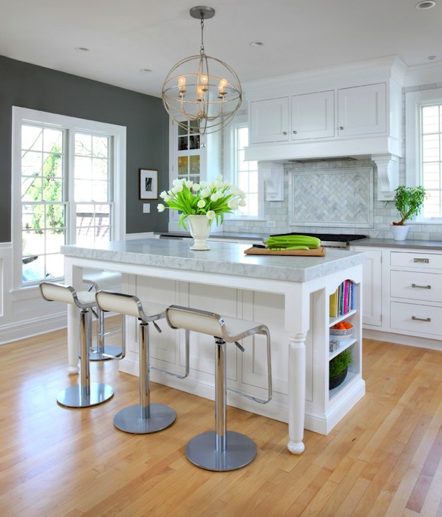 Kitchen with charcoal gray paint color and white trim painted Benjamin