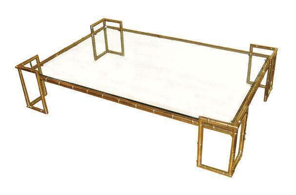John Salibello Brass Faux Bamboo Coffee Table