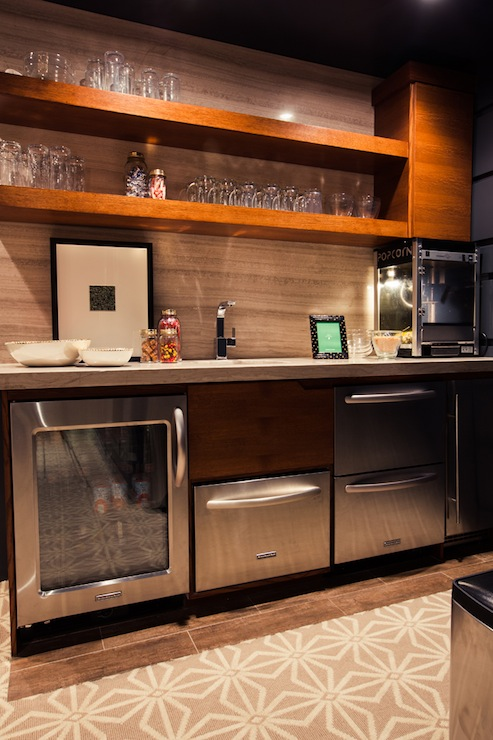 Wet Bar Design - Contemporary - media room - Alice Lane Home