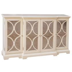 Distressed Cream Antiqued Mirror Accent Chest  Overstockcom