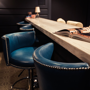 Peacock Blue Leather Barstools, Contemporary, media room, Alice Lane Home