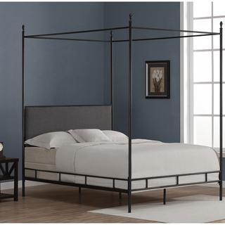 & Lauren Grey Upholstered Queen-size Canopy Bed - Overstock.com