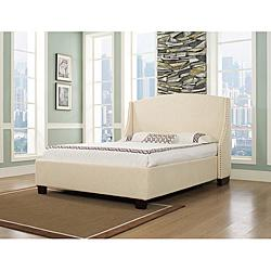 Oxford-X Queen-size Wheat Fabric Bed, Overstock.com