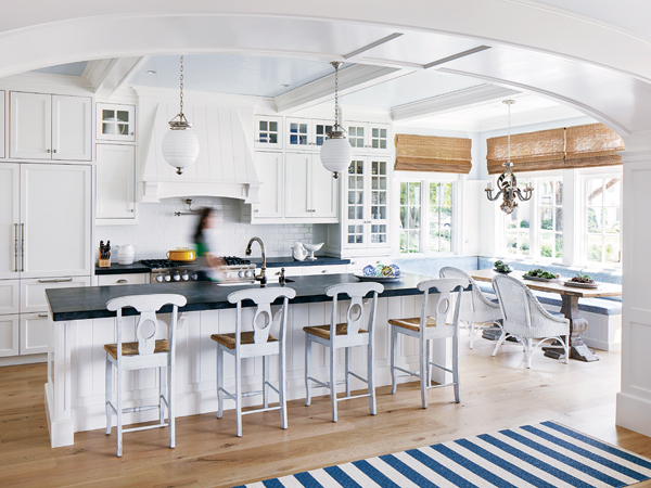 White Coastal Kitchen Cottage Kitchen Benjamin Moore
