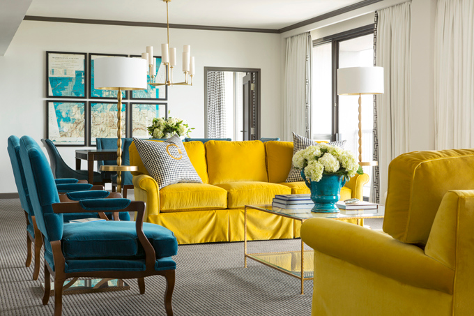 Peacock blue and yellow living room hollywood regency for Living room ideas yellow and blue
