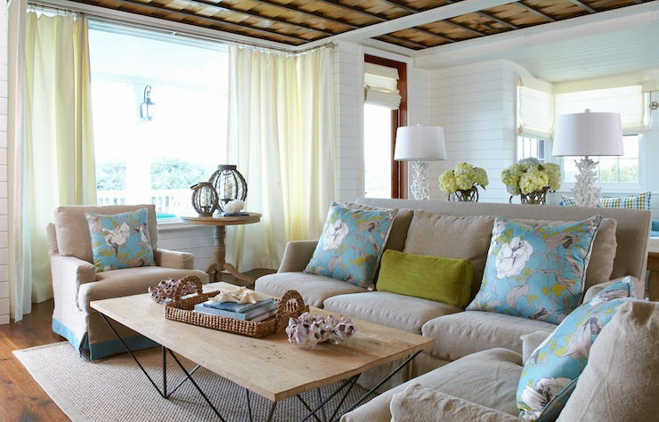 Nice Brown And Turquoise Blue Living Room With Milk Chocolate Light Brown  Slipcover Sofa Paired With Green Velvet Lumbar Pillow And Pair Of Linen  Slipcover ...
