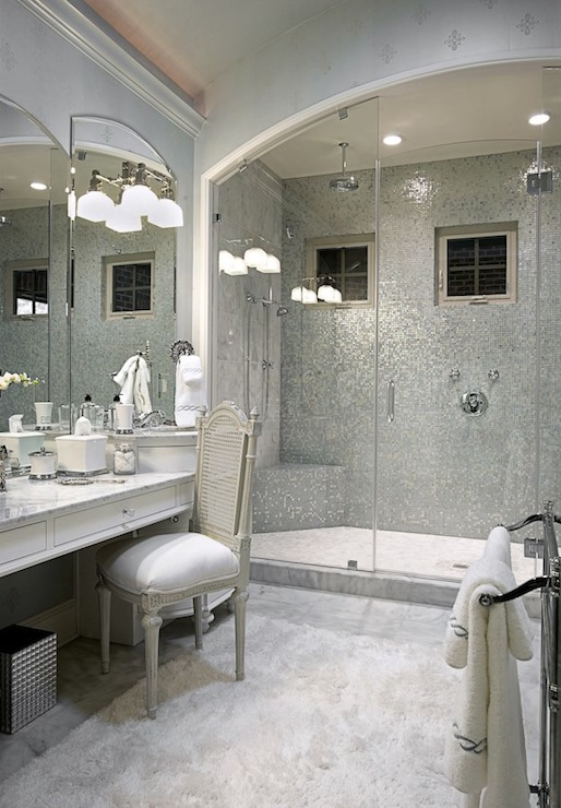 Silver Mosaic Tile Transitional Bathroom Knotting Hill Interiors