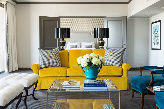 Incredible peacock blue and yellow living room with creamy white walls  paired with charcoal gray crown moldings and door moldings, with French  doors leading ...