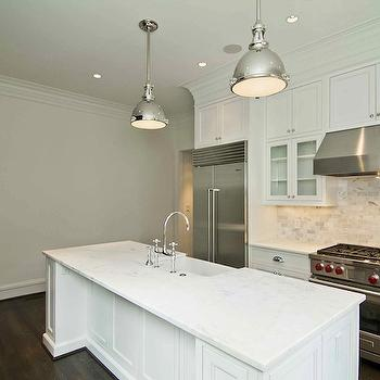 Calcutta Marble Subway Tile Transitional Kitchen