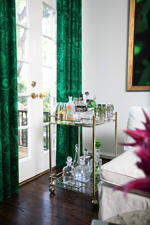 Glamorous Vintage Living Room Design Featuring Crisp White Walls And Lovely Wall Of French Doors Dressed In Rich Emerald Green Drapes Made With Tony