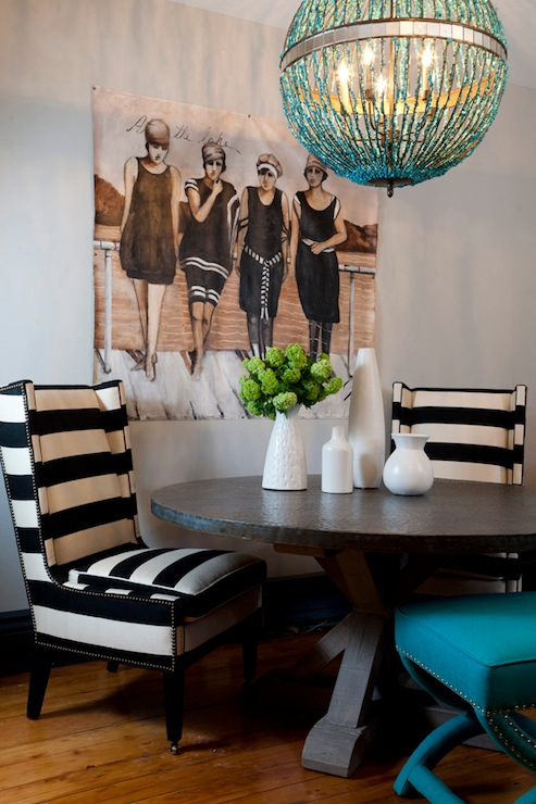 Black And White Striped Chairs Eclectic Dining Room