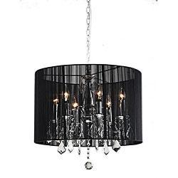 Chrome and black 6 light crystal chandelier overstock aloadofball Gallery