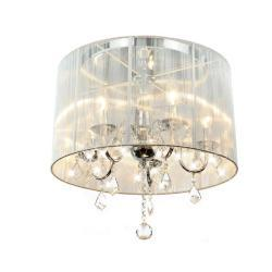 Chrome And Crystal Flushmount Chandelier   Overstock.com