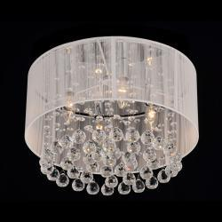 Flushmount 4 light chrome and white crystal chandelier overstock aloadofball Image collections