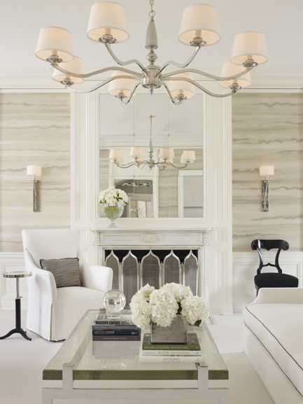 Mirrored Fireplace Wall Transitional Living Room Lichten Craig