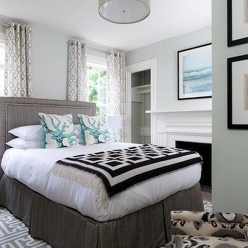Gray and Blue Bedroom, Eclectic, bedroom, Rachel Reider Interiors
