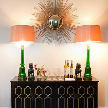 Malachite Lamps, Hollywood Regency, entrance/foyer, Sally Wheat Interiors