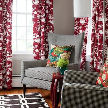 Toile Drapes Traditional Living Room
