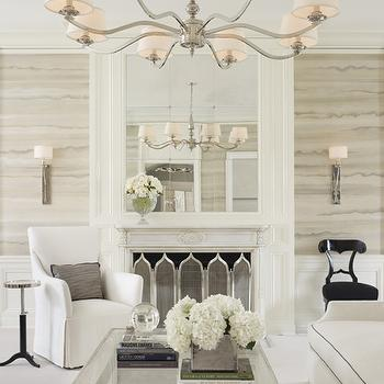 Mirrored Fireplace Wall, Transitional, living room, Lichten Craig Architects