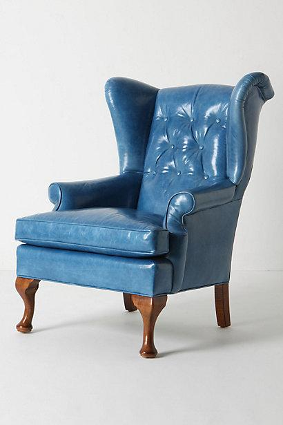 : blue leather wingback chair - Cheerinfomania.Com
