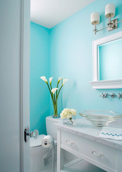 Aqua powder room cottage bathroom elizabeth kimberly for Aqua colored bathroom accessories