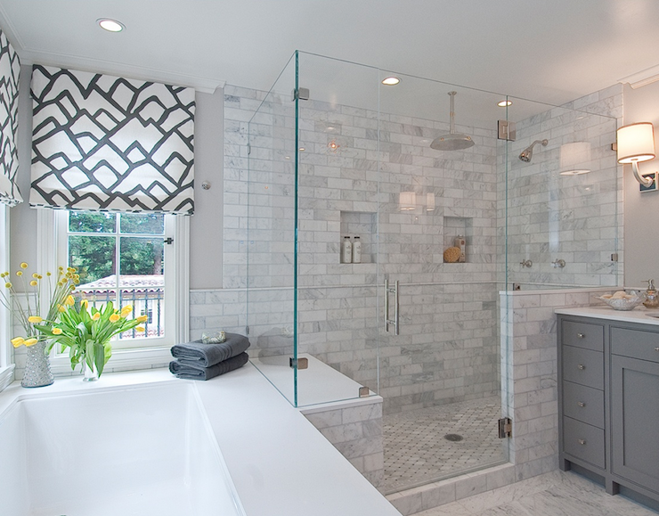Marble Shower Surround - Contemporary - bathroom - Tamara Mack Design