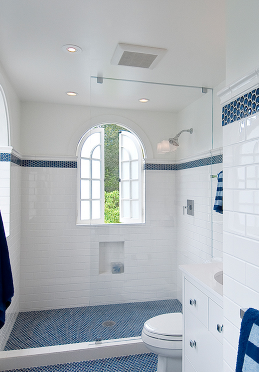 Blue subway tile shower design ideas for Blue white bathroom ideas