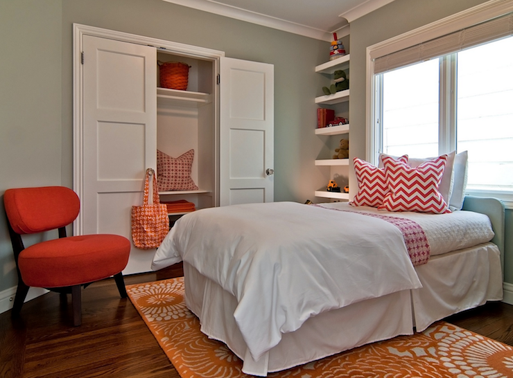 contemporary red and orange girl 39 s bedroom with sage green walls and
