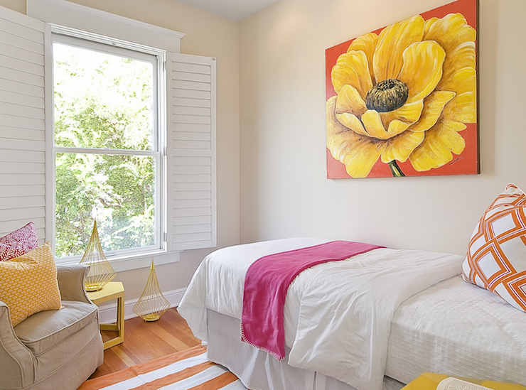 Pink Orange and Yellow Girl's Bedroom - Contemporary ...