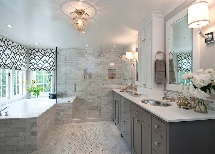 glam gray master bathroom with custom charcoal gray shaker cabinets