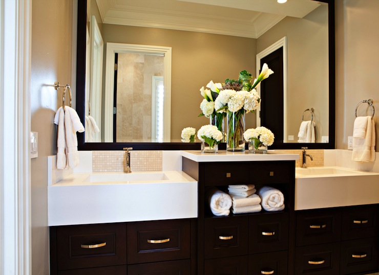 Classic Contemporary Bathroom Design With Walls Of Mocha Paint Color And  Oversized Espresso Framed Mirror Hanging Above An Espresso Vanity With Chic  Twin ...